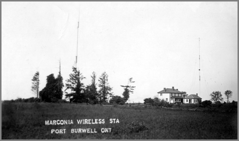 Postcard image of Marconi Station at Port Burnwell, Ont.