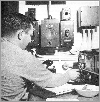 "Photo showing the captain at a 1947 towboat radio installation - From the Book ""Towboat River"" by E. & L. Rosskam"