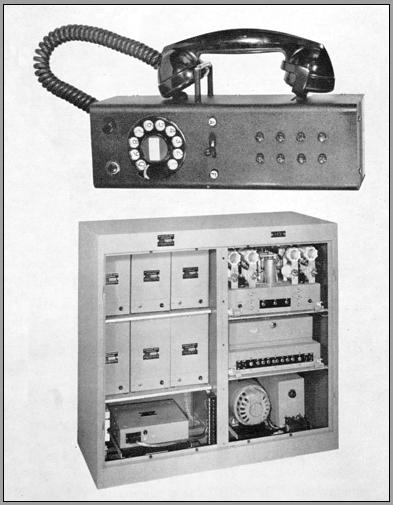 Photo of radio unit with covers open showing inside units and dynamotor. Also shown is the companion control unit with telephone dial and handset on a hanger.