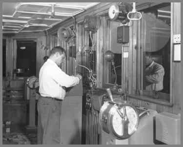 Installing the control head in the Wm. G. Mather wheelhouse