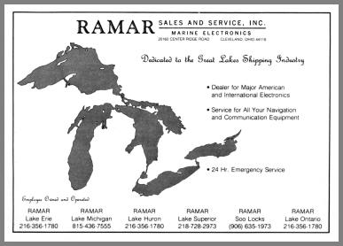 Image of the Great Lakes with the Ramar locations shown