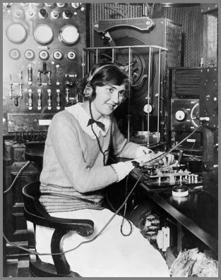Unknown lady cw operator at 1920's station
