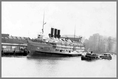 Large passenger ship at dock