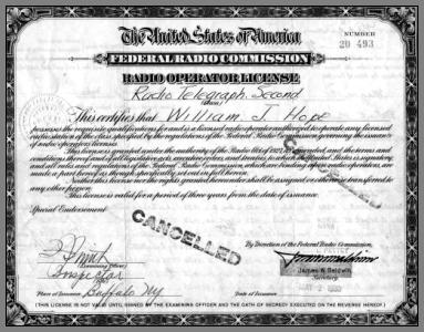 Front of Bill Hope's FCC Second Class Radio Telegraph License.