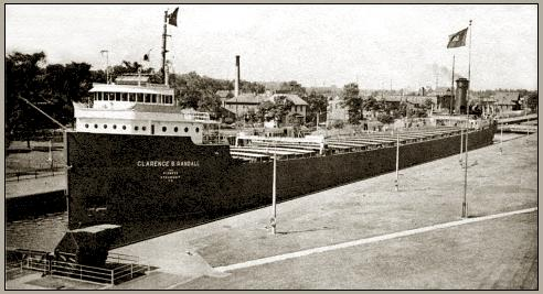 Photo of a large lake freighter in a lock