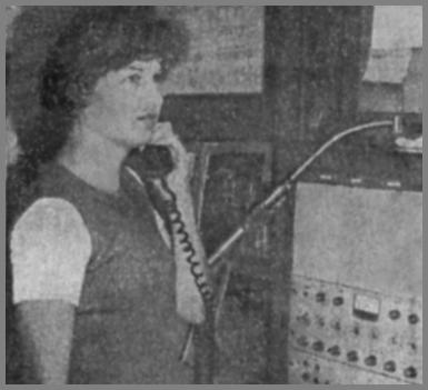 Newspaper photo of Gloria Miller at WCM
