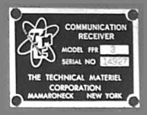 TMC Receiver Model FFR3 nameplate