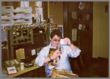 Manager, Tony Garofalo at the WCM console - Christmas 1979
