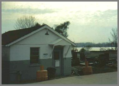 The concrete block WFN building in the Jeffboat yard.
