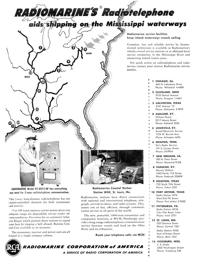 Image of ad showing the RMCA stations, service centers, and shipboard gear and WGK operation position