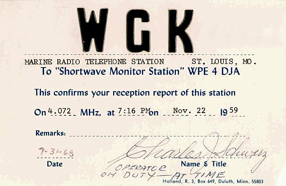 QSL card issued in 1969 for reception in 1959 - Signed by Charles J. Schwarz