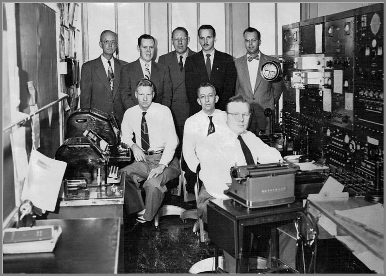 The WLC Crew in 1953 - photographed inside the station