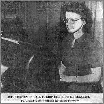 Newspaper photo of WMI operator at Teletype machine.