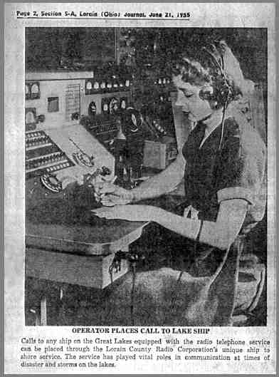 Newspaper photo of WMI operator at control console.