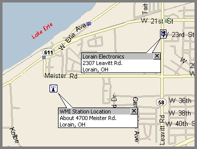 Partial map of Loraine, OH showing the WMI and Lorain Electronics locations.